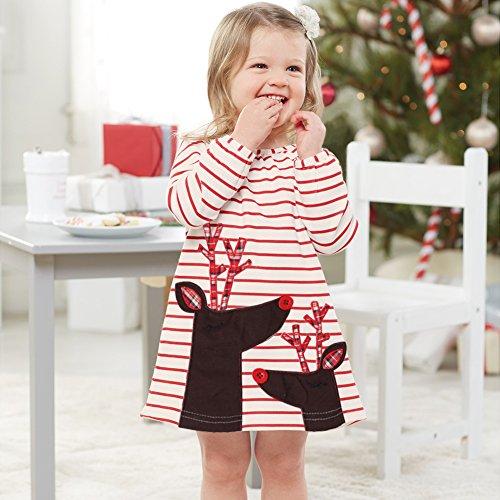 Funnycokid Kleinkind Kinder Baby Mädchen Santa Druck Gestreift A-Linie Swing Kleid Weihnachten Outfits Kleidung (Santa Outfit Mädchen)