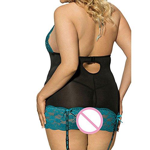 HCFKJ Dessous Damen Sexy Frauen Mode Reizvolle Spitze Unterwäsche Große Größen Uniform Versuchungs Reizwäsche Set Schwarz,XL - 4