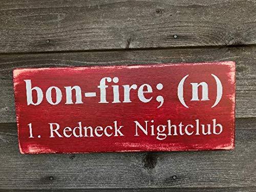Tiukiu Bonfire Redneck Night Club Rustic Wood Sign Wooden Plaque Wall Decor