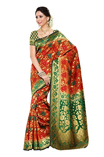 Mimosa Women's Traditional Art Silk Saree Kanjivaram Style, color :Orange(3257-R10-ORG-GRN)  available at amazon for Rs.2099
