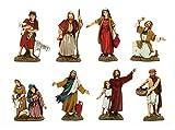 Bertoni 8semplici Statuette per presepe in Costumi storici, Legno,, 10x 30x 30cm