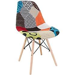 DSW Patchwork Sedia, Cotone/Polipropilene. Replica di design ispirata ad una delle più famose sedie progettate da Charles Eames.