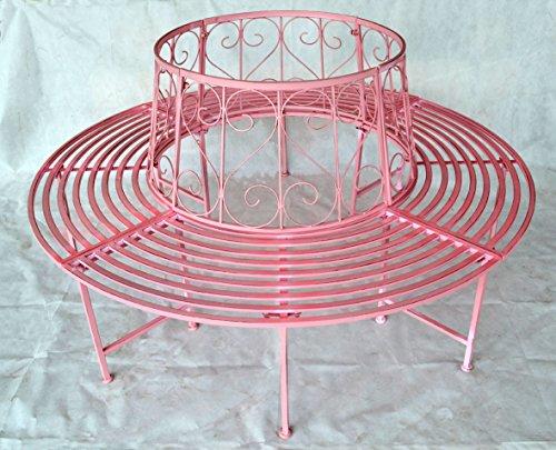 Gartenbank Rundbank Baumbank Bank aus Metall, Pink 506156