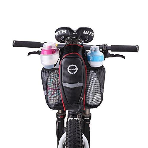 AKM Fahrrad Wasserdicht Satteltaschen mit Flaschenhalter Sattel für Mountainbike groß Kapazitäten schwarz mit Reflektor Sitztasche