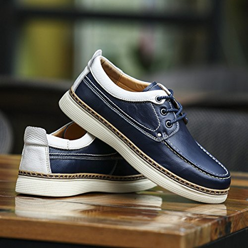 Mode Hommes Casual Chaussures Confortable Respirant Dentelle Mens Costumes Moyen-âge Chaussures Bleu