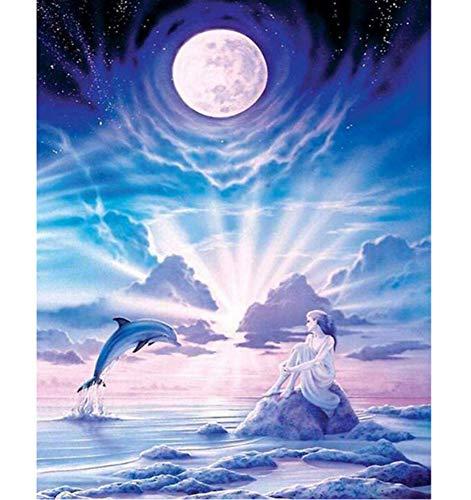 (CNLSZM Volle quadratische Diamant 5d DIY Diamant malerei fee mit Delphin 3D Stickerei kreuzstich mosaik Painting Decor 40x50cm)
