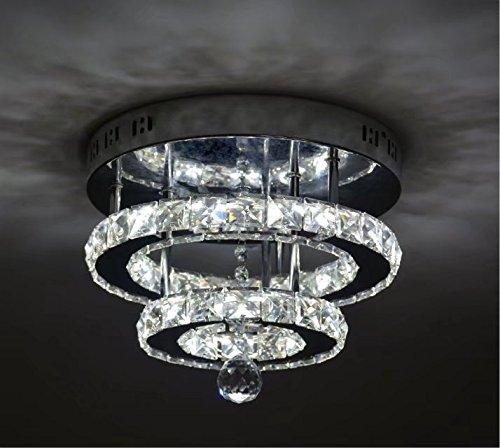 Shfgoo cristallo moderno led plafoniera k9 cristallo acciaio inossidabile lampadario decor perfetto per corridoio/scala/camera da letto/sala da pranzo (luce bianca)