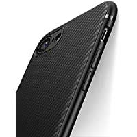 Cover iPhone 7, Cover iPhone 8, J Jecent [Look in Fibra di Carbonio] Custodia Protezione in Morbida Silicone TPU [Anticaduta, Antiscivolo, Antigraffio, Antiurto] Case per iPhone 7/8 (4.7 pollici)- Nero