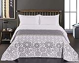 DecoKing 77207 Tagesdecke 220 x 240 cm Stahl Silber weiß anthrazit Bettüberwurf zweiseitig White Steel Silver Steppung Alhambra