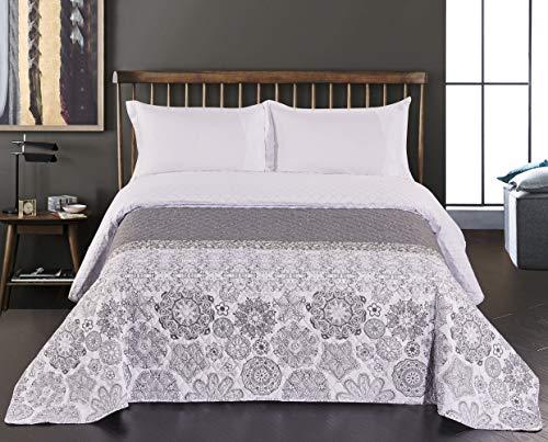 DecoKing Tagesdecke silber 77207 220 x 240 cm stahl silber weiß anthrazit Steppung Alhambra - in vielen Größen wählbar