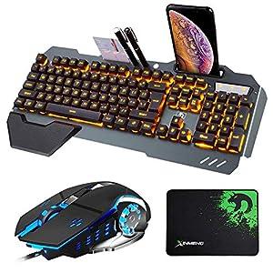 Hoopond-Technologie Tastatur- und Mauskombination verdrahtete orange gelbe LED Hintergrundbeleuchtung Schwarze Metall Spieletastatur mit Handhalterung + 3200 DPI 4 Farben Atemlicht Maus + Mauspad
