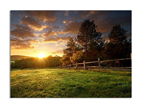 deinebilder24-wandbild-xxl-malerische-landschaft-eingezaunte-ranch-bei-sonnenaufgang-auf-leinwand-un