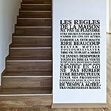 Stickers Smart House®- Sticker mural « les règles de la maison » Noir (92x52)
