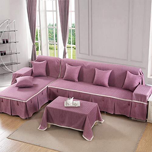 Zcm copridivano,4 season cotton e lino solid color style universale copridivano antiscivolo per divano viola a002-5(un pezzo) (dimensioni : 170 * 260cm-right chaise)
