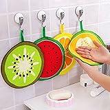#1: Epyz 4 Pcs Fruit Print Kitchen Bathroom Hanging Washbasin Hand Towels- Multicolor