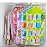 #5: Cherry Washable 16 Grids Pouch Clothes Sock Underwear Bra Hanging Storage Bag Organizer
