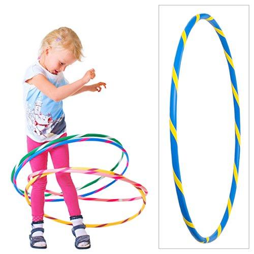 Hoopomania - Hula Hoop colorato per Piccoli Professionisti, Bambini, Bunter Hula Hoop für Kleine Profis, Blu/Giallo