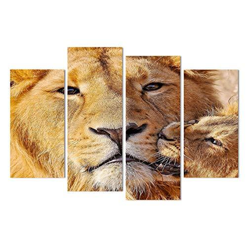 Unbekannt 4 Panel Leinwand Kunst Leinwand Malerei Lion Cub Verspielt Pflege Gedruckt Wandkunst Poster Wohnkultur Bild für Wohnzimmer-40x80cmx2 40x100cmx2 Kein Rahmen