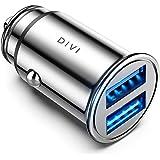 DIVI Caricabatteria Auto USB, 4.8A Caricatore Adattatore Universale Caricabatterie da Auto 2 Porte Super Mini Alluminio Macch