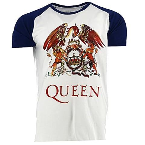 Queen Classic Crest blanc Raglan T-shirt Officiel Autorisé La Musique