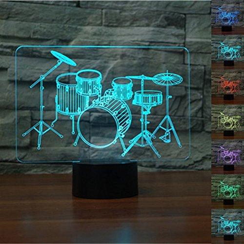 3D Illusion Tischlampe,KINGCOO 7 Farben 3D Effekt Touch Nachtlicht Schreibtischlampe Dekoratives Licht für Kinder Weihnachtsgeschenk (Schlagzeug-1)