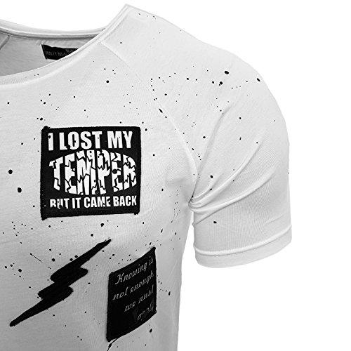 Herren T-Shirt Kurzarm Disco Dope Streetwear Swag Disco Freizeit Shirt 15108 NEU Weiß