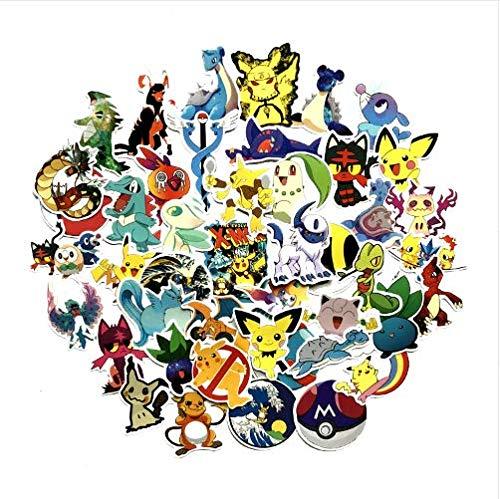 Aufkleber Kawaii Pikachu Pokeball Anime Abziehbilder Für Wasserdichte Sonnencreme Notebook Trolley Auto Aufkleber Dekor Aufkleber 50St (Erwachsenen-schlafzimmer-wand-abziehbilder)