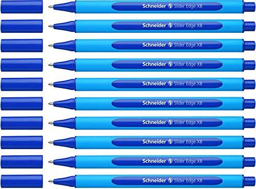 Schneider Slider Edge XB Kugelschreiber (Dreikant-Stift mit Strichbreite XB=Extrabreit, Kappenmodell) 10er Packung cyan-blau