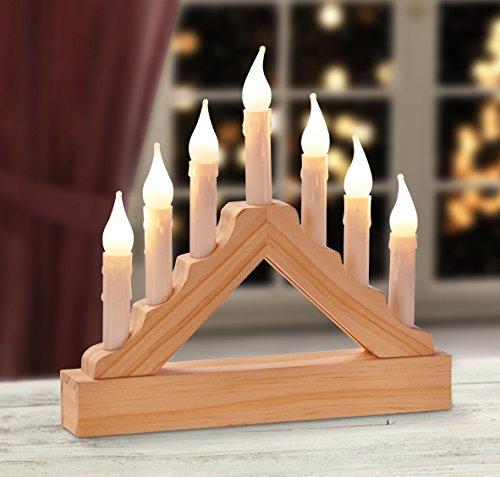 LED Lichterbogen mit 7 Kerzen Holz,Weihnachtsdeko,Fensterdeko,Weihnachten, (l) 22 x (b) 3.5 x (h) 21 CM