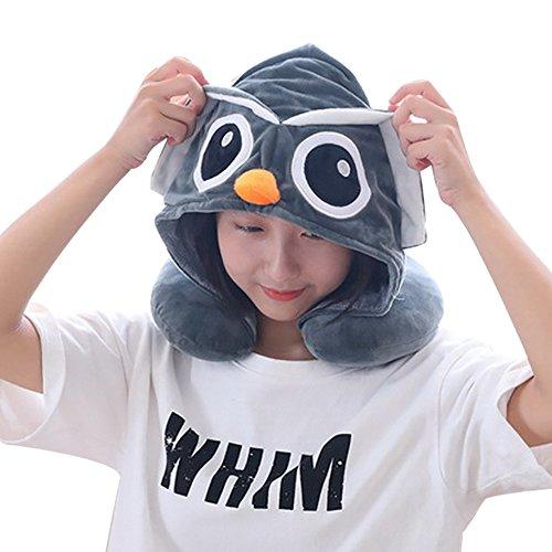 Owl U Geformte Nackenkissen Cartoon Owl Nackenkissen Owl Support Kissen für Kopfstütze Stress Relief Flugzeug Auto Büro (Owl)