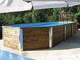 Massivholz-Swimmingpools Korfu - AKTION: inkl, Einhängeleiter gratis - Außenmaß: 376 x 850 cm, Wasserkapazität: 25,6 m³, Sandfilteranlage MAXI: vorhanden