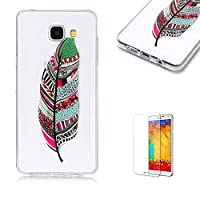 For Samsung Galaxy A310/A3 2016 Case [with Free Screen Protector],Funyye Fashion lovely Lightweight Ultra Slim Anti Scratch Transparent Soft Gel Silicone TPU Bumper Protective Case Cover Shell for Samsung Galaxy A310/A3 2016 - Feather