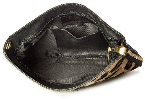 Big borsa Shop piccolo in vera pelle uomo pelliccia Con cerniera frizione borsa a tracolla grigio