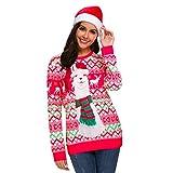 Kuorle Unisex Weihnachten Sweatshirt, Herren Damen Langarm Top Jumper Shirt Christmas Sweater Damen Sweatshirt Pullover Merry Christmas Rentier Weihnachten Pulli(Rot, L)