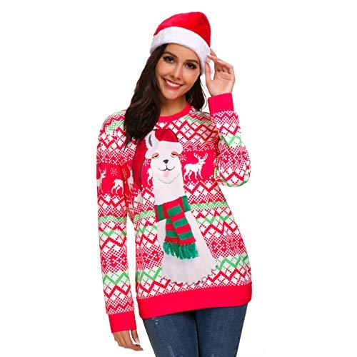 Kuorle Unisex Christmas Sweatshirt, Herbst Winter Damen Bluse Frohe Weihnachten Übergröße Pullover Gedruckt Sweatshirt Tops(Rot, XXL)