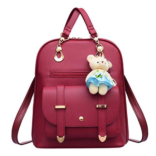 Damen Schultertasche Gezeiten Weiblichen Rucksack Frühling Und Herbst Winter Student Handtaschen Red