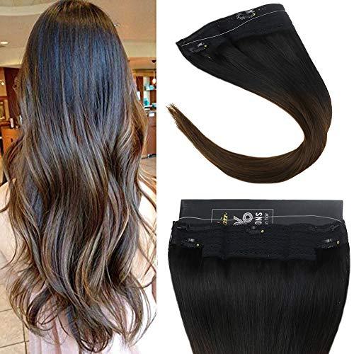 Sunny double weft invisible wire halo extension filo capelli & 16 pollice/40cm, 80grammo/pack, ombre nero naturale al marrone * extension capelli filo invisibile