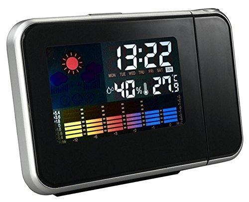 Digital LCD Screen LED Proyector Reloj Despertador Mini Desktop Multi-función de la estación meteorológica Snooze. , black