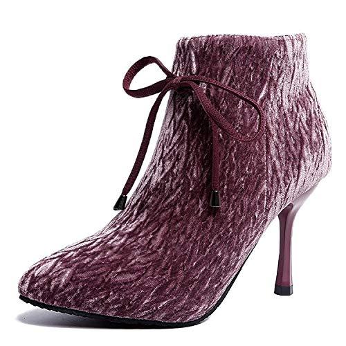 Hrcxue tacco a spillo elegante stivaletto a punta alta con zip laterale femminile, rosa, 39