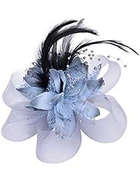 Cocktail Velo de Plumas Fascinators Mujeres Niñas Accesorios Pinza de Pelo de la Flor