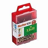 Fischer 653934 Spanplattenschraube Power-Fast 3,5 x 30 mm | Schraube gelbverzinkt mit Senkkopf, Vollgewinde und Kreuzschlitz (PZ) | 50 Stück