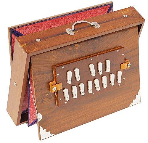 Shruti Box Teak Holz Größe (40,6x 30,5x 7,6cm) Zoll ~ eingestellt: 440Hz, Gigbag, Teak natur Holz Farbe, Schlüssel–C bis C (unten tone- Stecker Typ Reed), Sur Peti, sortiert Surpeti, Yoga, Bhajan, Kirtan, DJ (12 4 Blättern X)