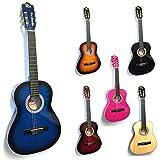 RayGar Rio - Set chitarra classica 3/9 per principianti bambini, dai 4 ai 12 anni, con custodia, cinghie, plettri, accordatore e DVD guida 36'' Blue