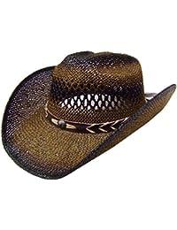Modestone Unisex Straw Sombrero Vaquero Beige Black