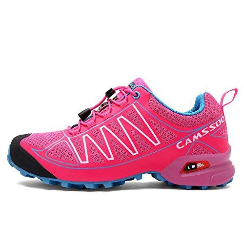 Chaussures de randonnée pour hommes / femmes été et automne chaussures de sport en plein air pour randonnée alpinisme respirant léger et antidérapant rose red