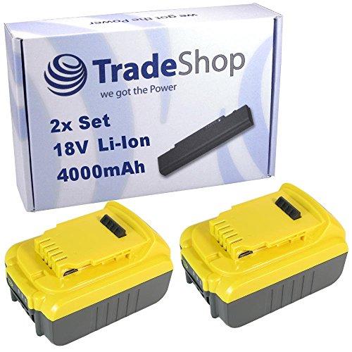 TradeShop 2x Hochleistungs Li-Ion Akku 18V / 4000mAh für Dewalt DCF885L2 DCF885M2 DCF886 DCF886D2 DCF886M2 DCF889 DCF889HL2 DCF889HM2 DCF889L2 DCF889M2 DCF895 (Dewalt Dcf886d2)