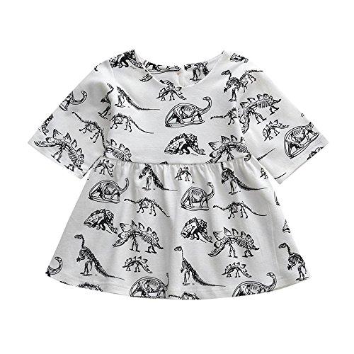 YWLINK Kleinkind MäDchen Tier Karikatur-Dinosaurier-Druck Sun Kleider Kleidung Outfits Kurze ÄRmel Kleiden(Weiß,Größe: 18M)