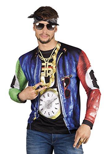 Halloweenia - Herren Kostüm Shirt / Hemd Rapper, Mehrfarbig, Größe M