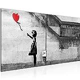 Bilder Banksy - Ballon Girl Street Art Wandbild 100 x 40 cm Vlies - Leinwand Bild XXL Format Wandbilder Wohnzimmer Wohnung Deko Kunstdrucke Rot Grau 1 Teilig -100% MADE IN GERMANY - Fertig zum Aufhängen 301612a