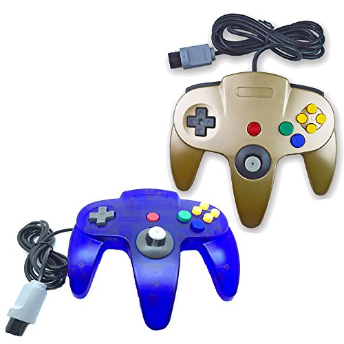pomilan Classic Retro Wired Controller für Nintendo 64 Konsole Gold and Clear Blue (Nintendo 64 Konsole-gold)